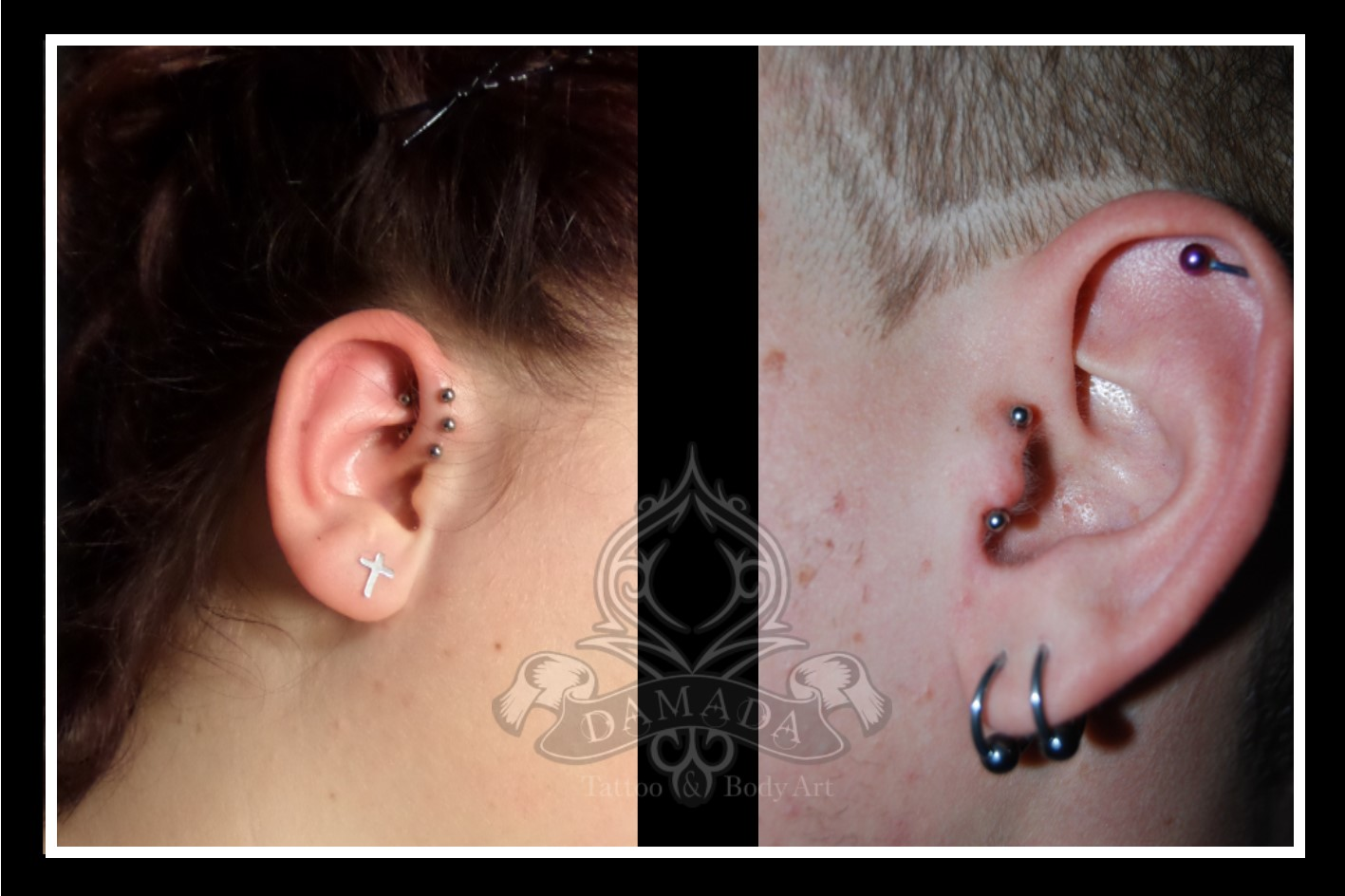 Triple Forward Helix and Vertical Tragus Piercing