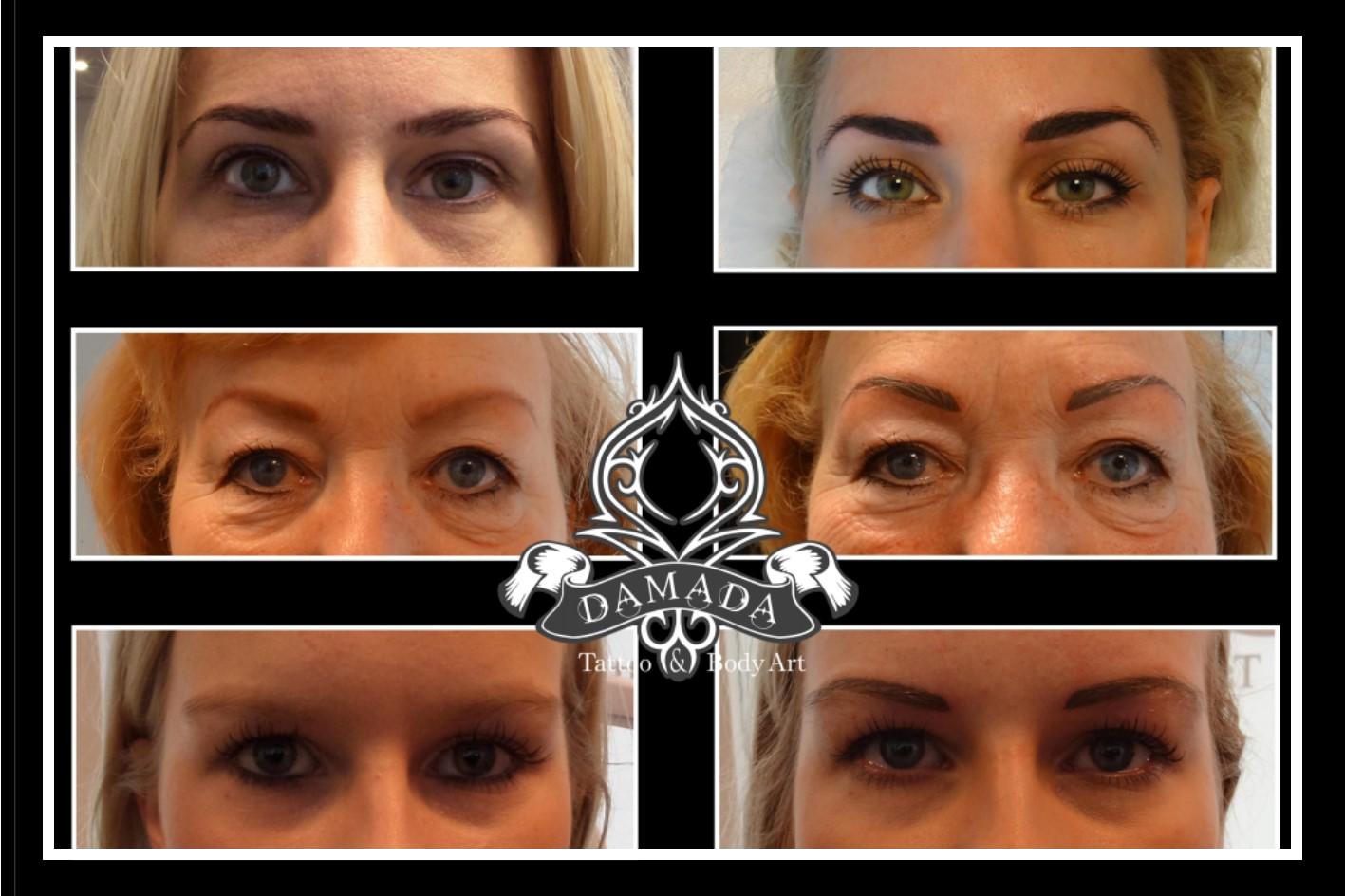 Wenkbrauwen permanente make up voor en na